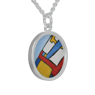 Red Blue and Yellow Cubism Art Printed Necklace