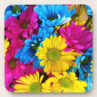 red, blue and yellow daisies square coaster