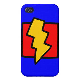 Red Blue and Yellow Lightning Bolt iPhone 4 Cases