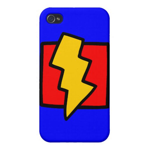 Red Blue and Yellow Lightning Bolt Cases For iPhone 4