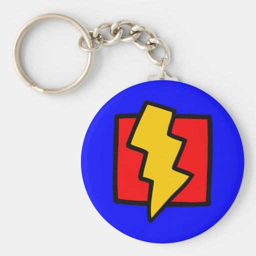 Red Blue and Yellow Lightning Bolt Basic Round Button Keychain