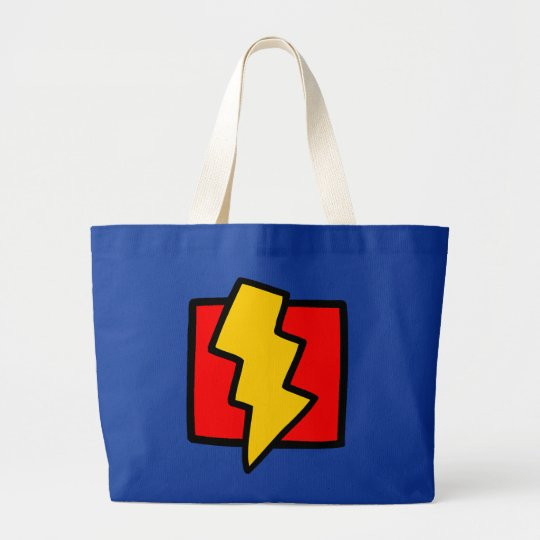 Red Blue and Yellow Lightning Bolt Large Tote Bag