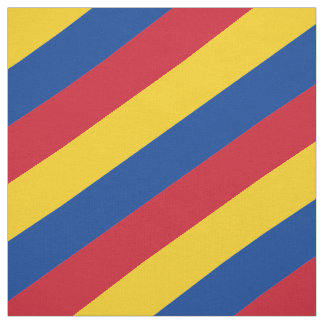 Red, blue and yellow  striped pattern fabric