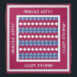 """Red Blue Argyle Kitty Pet Bandana<br><div class=""""desc"""">This cute and stylish bandana,  featuring red and blue colors,  is perfect for your favorite feline in the family. It also makes a nice gift for someone&amp;#39;s pet.</div>"""