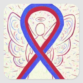 Red & Blue Awareness Ribbon Angel Sticker Decals