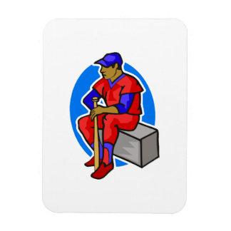 red  blue ball player rectangular photo magnet