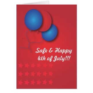 Red Blue Balloons 4th of July Card