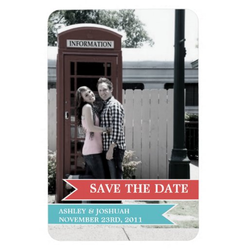 Red & Blue Banner Photo Save The Date Magnet