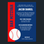 """Red Blue Baseball Bar Mitzvah Invitation<br><div class=""""desc"""">Modern red and blue baseball themed Bar Mitzvah invitations. Easily personalize for your event.</div>"""