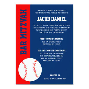 Red Blue Baseball Bar Mitzvah Invitation