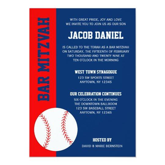 red blue baseball bar mitzvah invitation zazzle com