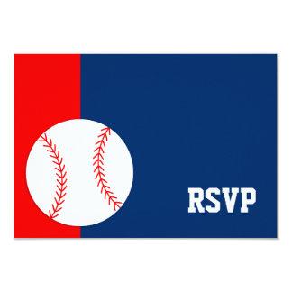 Red Blue Baseball Bar Mitzvah RSVP Card