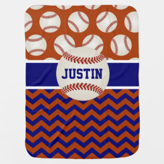 Red Blue Baseball Chevron Personalized Baby Blanket