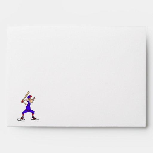 Red & Blue Baseball Player Envelopes