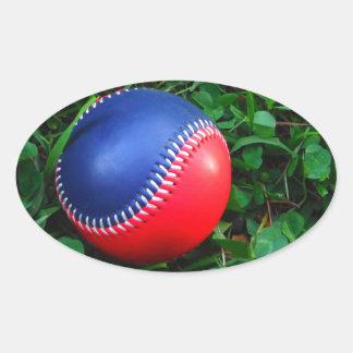 Red & Blue Baseball with White Stitching Sticker