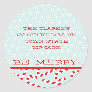 RED BLUE BE MERRY CHRISTMAS ADDRESS STICKERS