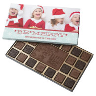 RED BLUE, BE MERRY | HOLIDAY PHOTO CHOCOLATES 45 PIECE BOX OF CHOCOLATES