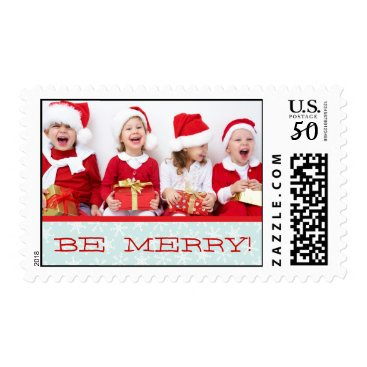 Christmas Themed RED, BLUE BE MERRY HOLIDAY PHOTO POSTAGE