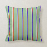 [ Thumbnail: Red, Blue, Beige, and Dark Sea Green Colored Throw Pillow ]