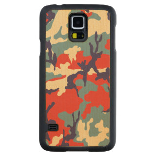Red/Blue/Beige Camo Pattern Carved Maple Galaxy S5 Slim Case