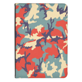 Red/Blue/Beige Camo Pattern Kindle Folio Case