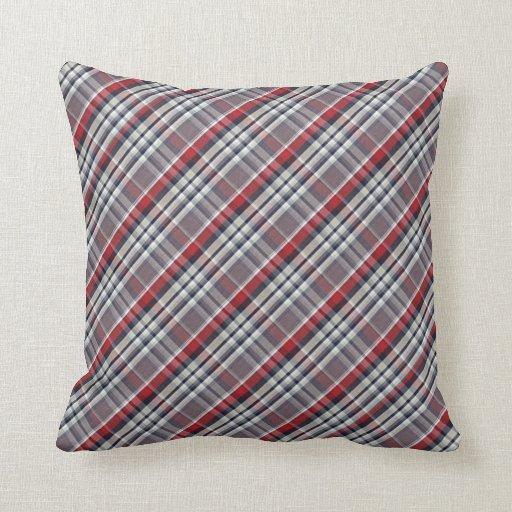 Red Tartan Plaid Throw Pillows : Red Blue Beige Scottish Plaid Tartan Pattern Throw Pillows Zazzle