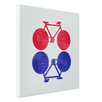 red blue bicycles mirrored biking-decor canvas print