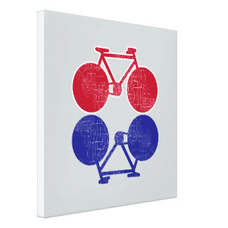 red blue bicycles mirrored biking-decor canvas print
