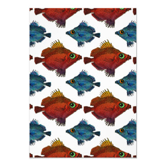 Red & Blue Big & Little Fish ANY COLOR BACKGROUND Card