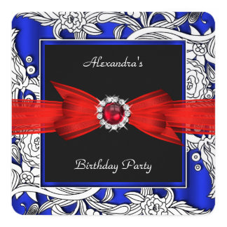 Red Blue Black White Floral Birthday Party 5.25x5.25 Square Paper Invitation Card
