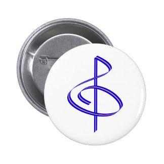 Red & Blue Brushstroke Treble Clef 2 Inch Round Button