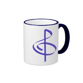 Red & Blue Brushstroke Treble Clef Coffee Mug