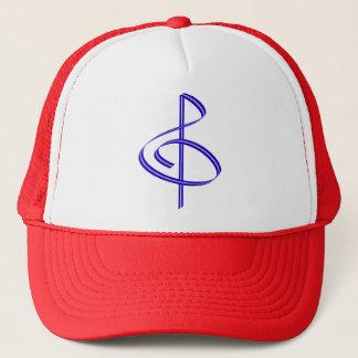 Red & Blue Brushstroke Treble Clef Trucker Hat