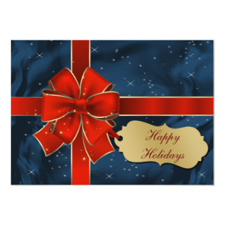 """red blue  Business Holiday Greetings 5"""" X 7"""" Invitation Card"""