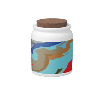 Red Blue Camouflage Candy Jars