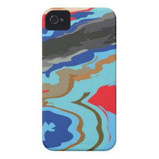 Red Blue Camouflage iPhone 4 Cover