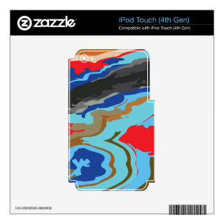 Red Blue Camouflage iPod Touch 4G Decals