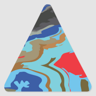 Red Blue Camouflage Triangle Sticker