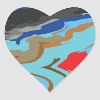Red Blue Camouflage Heart Sticker