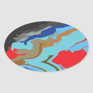 Red Blue Camouflage Oval Sticker