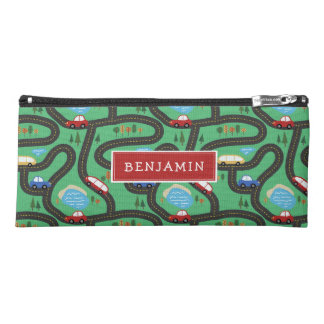 Red & Blue Cars - Kids Road Map - Name Pencil Case