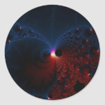Red Blue Cells Fractal Art Classic Round Sticker