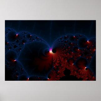 Red Blue Cells Fractal Art Poster