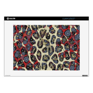 "Red Blue Cheetah Circle Abstract 15"" Laptop Decals"