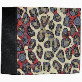 Red Blue Cheetah Circle Abstract 3 Ring Binder