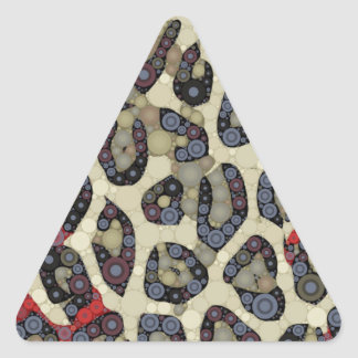 Red Blue Cheetah Circle Abstract Triangle Sticker