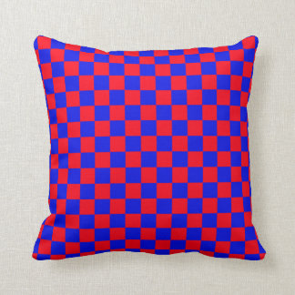 Red & Blue Chess Pattern Throw Pillow