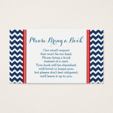 Red Blue Chevron Baby Shower Book Request Card at Zazzle