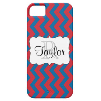 Red & Blue Chevron monogrammed iPhone5 Case iPhone 5 Covers