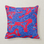 Red Blue Chinese Dragon Vintage Vase Art Pillow